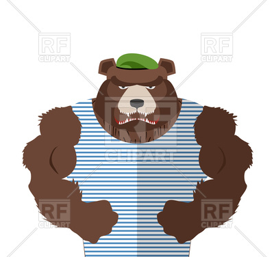 400x376 Angry Bear In Striped Vest. Russian Bear Defender Royalty Free
