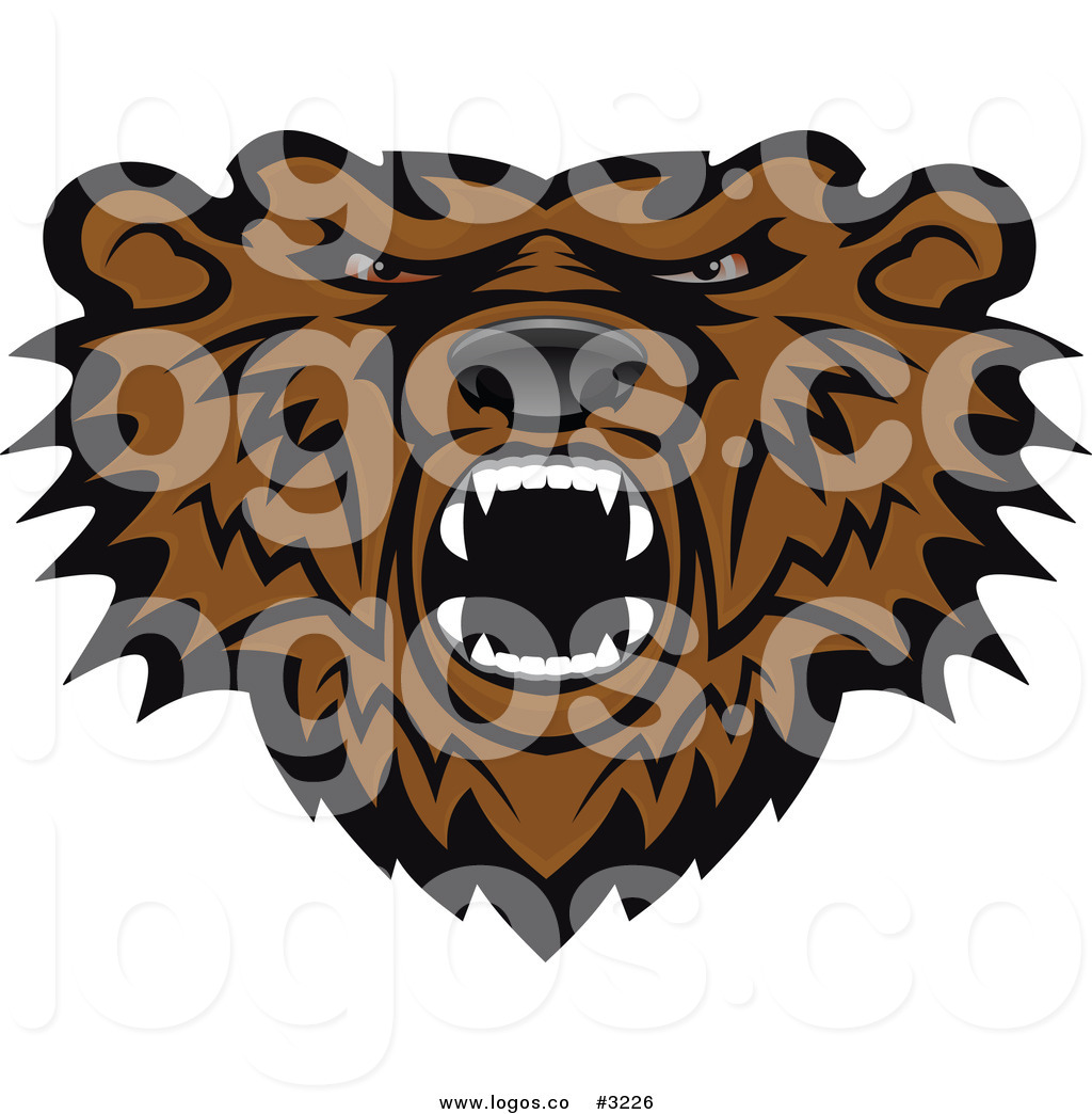 1024x1044 Royalty Free Vector Of An Angry Brown Bear Head Logo By Vector