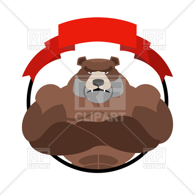 400x400 Angry Bear Athlete Round Emblem Royalty Free Vector Clip Art Image