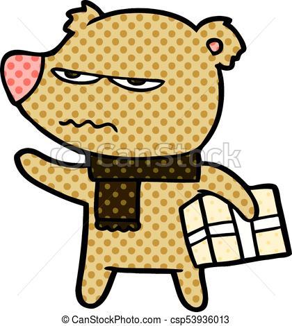 420x470 Angry Bear Cartoon Gift Vector Clip Art