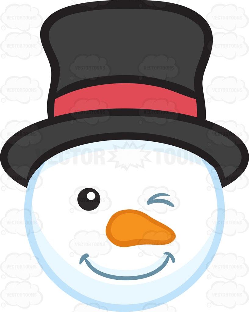 817x1024 A Winking Snowman Head Cartoon Clipart Vector Toons