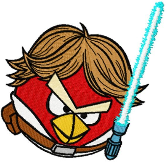 570x553 Angry Birds Star Wars Luke Skywalker Machine Embroidery Design