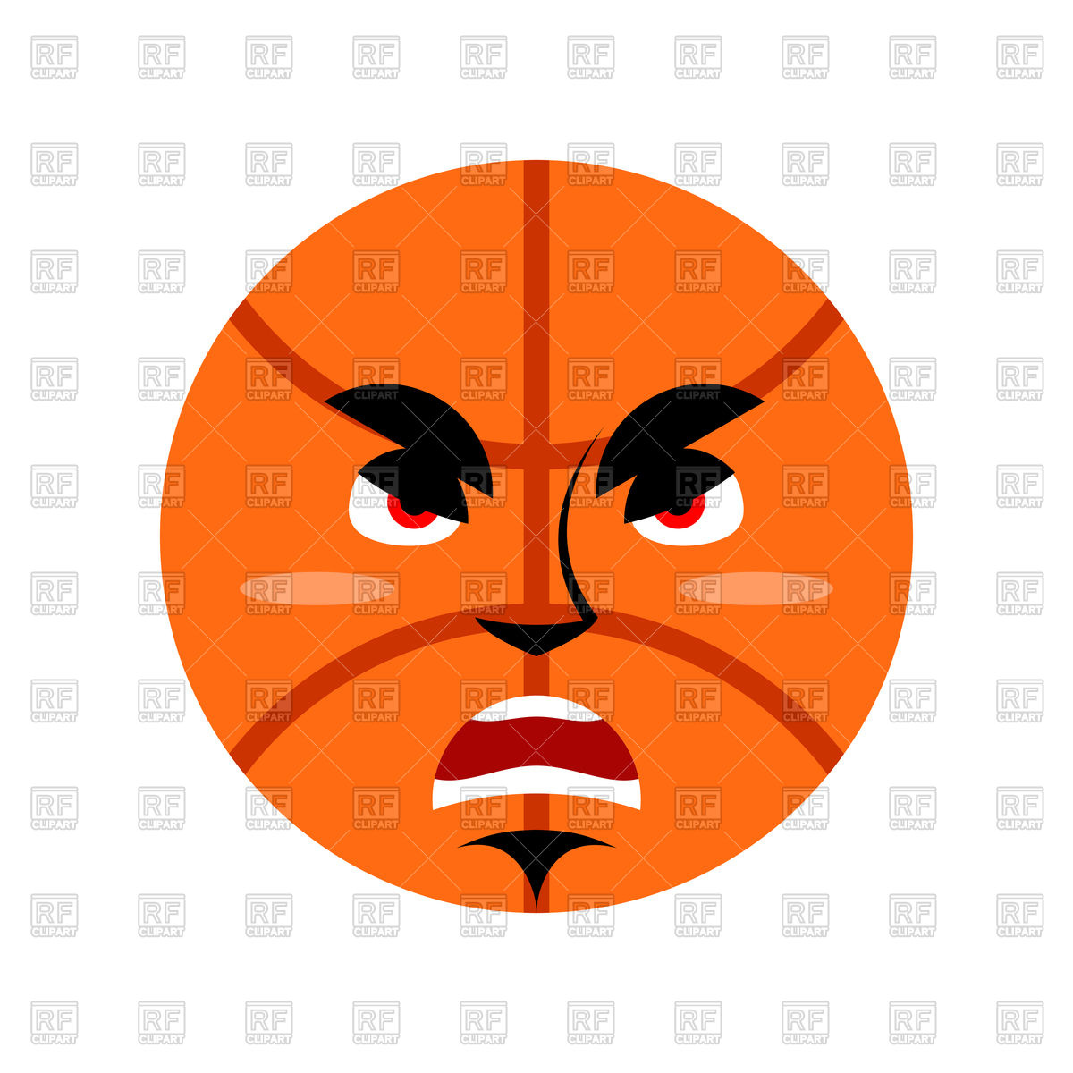 1200x1200 Basketball Ball Angry Emoji Royalty Free Vector Clip Art Image