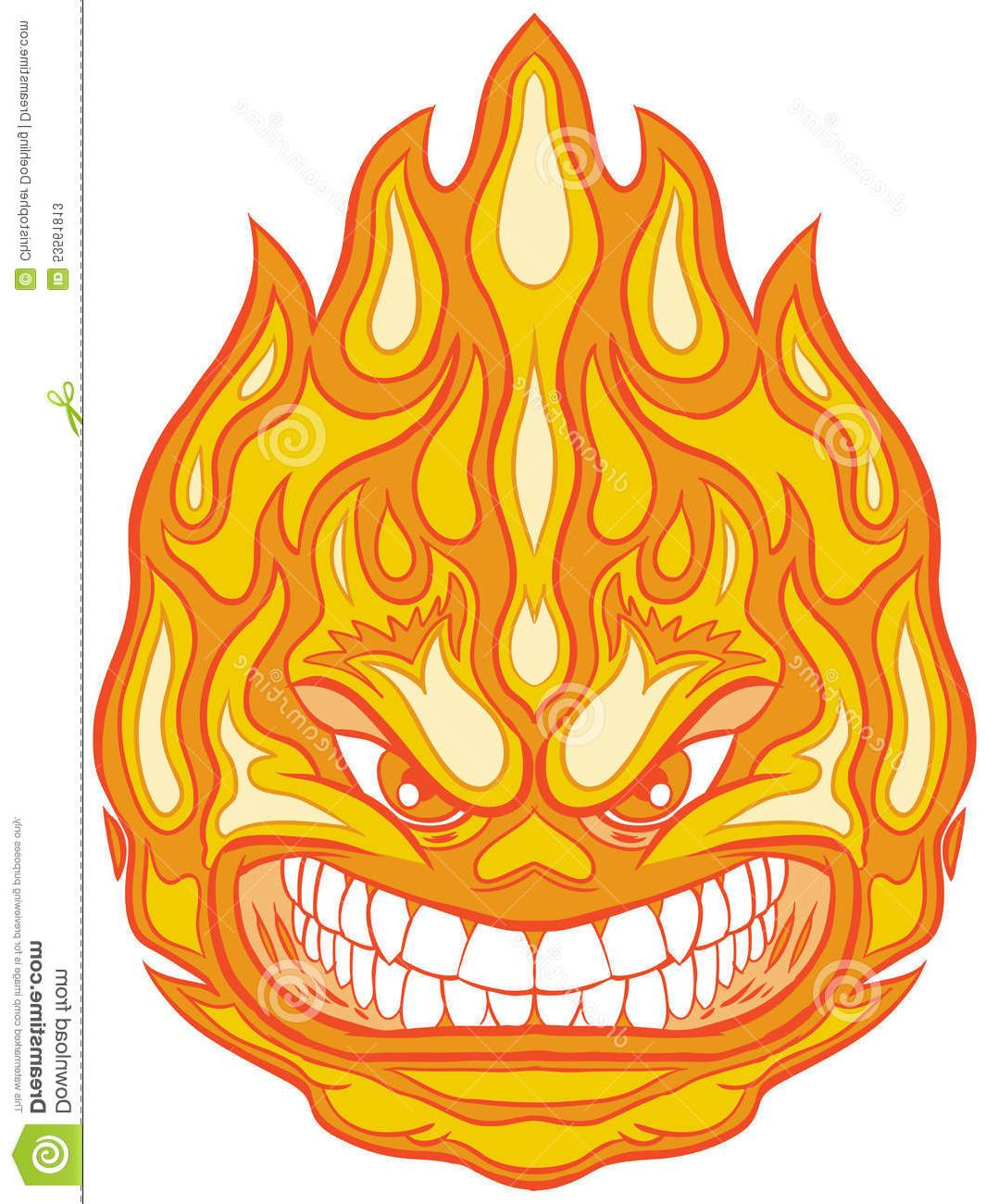 1065x1300 Top Fireball Face Vector Image