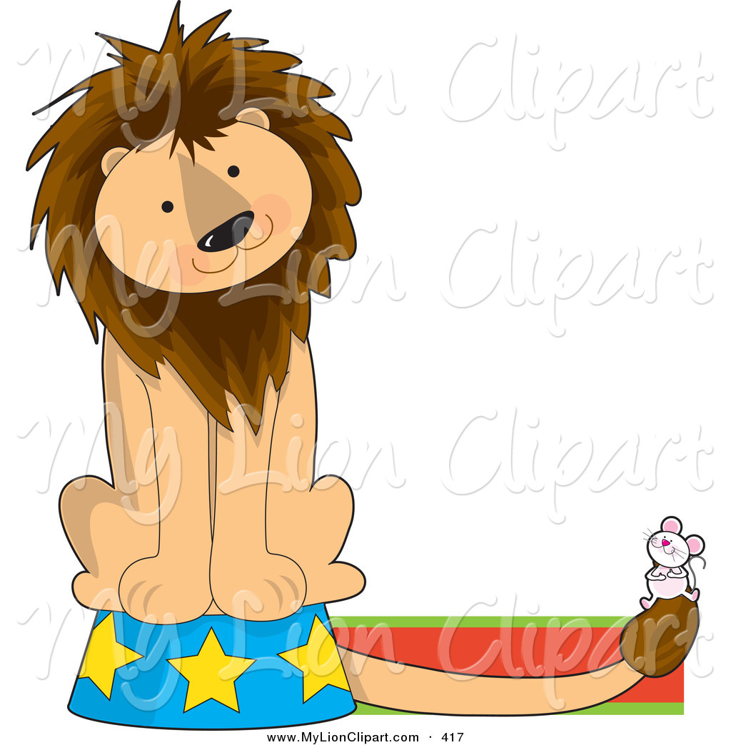1024x1044 Clipart Of A Cute Circus Lion On A Podium, Watching A Mouse,
