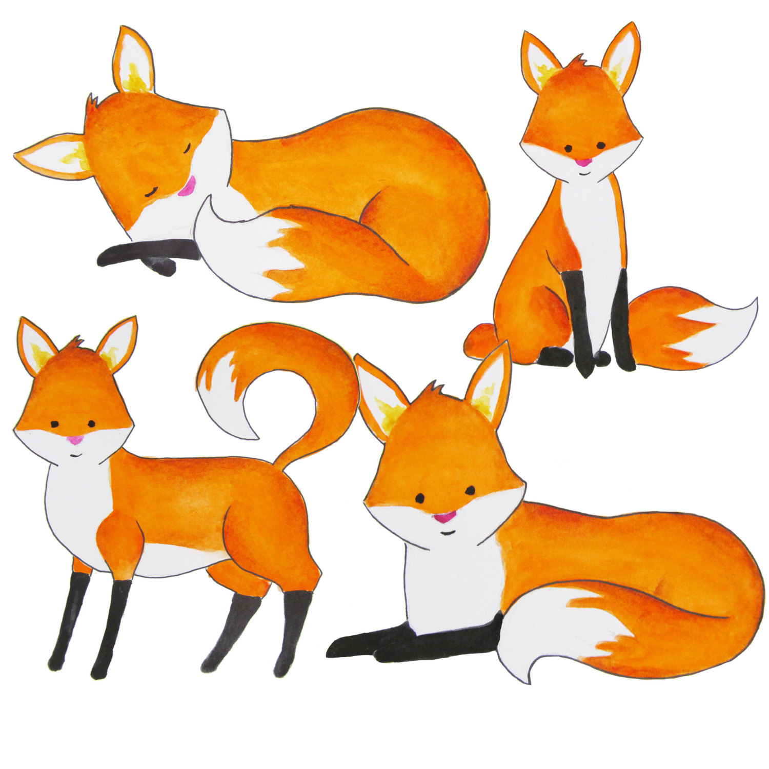 1500x1500 Watercolor Fox Clipart, Foxes Clipart, Red Fox Clip Art, Forest