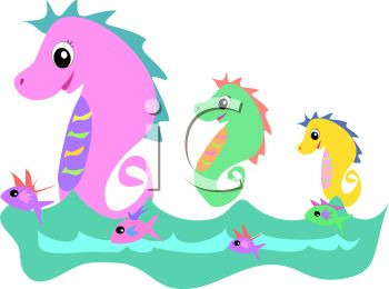 350x260 Royalty Free Clipart Image Seahorse Family