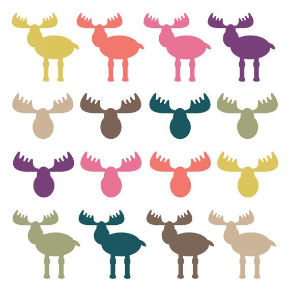 570x570 Clipart Clip Art Moose Heads Woodland Clipart Animal Digital Clip