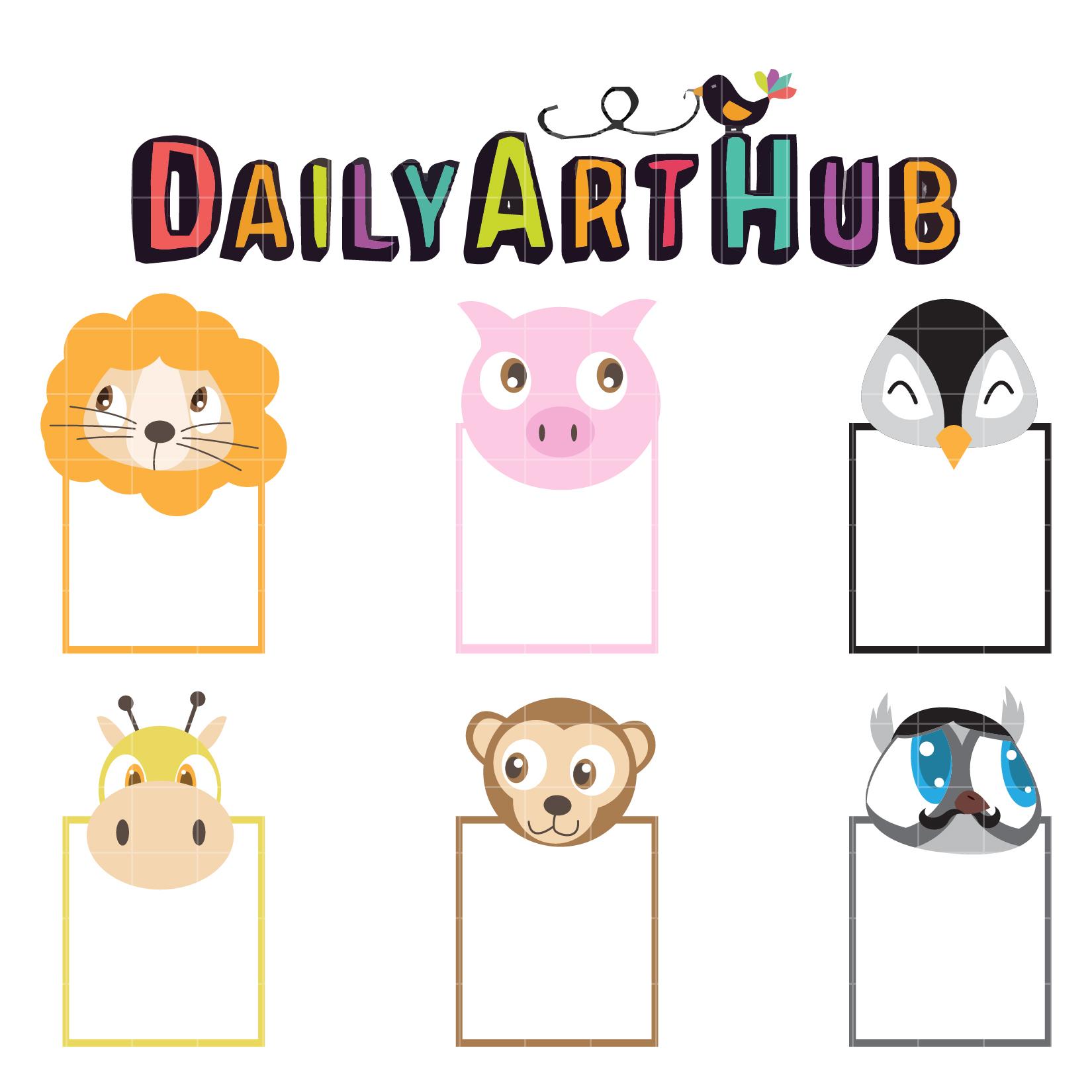 1650x1650 Animal Head Notes Clip Art Set Daily Art Hub Free Clip Art