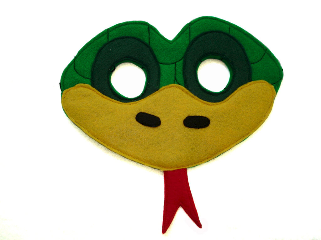 1024x768 Children's Green Snake Felt Animal Mask