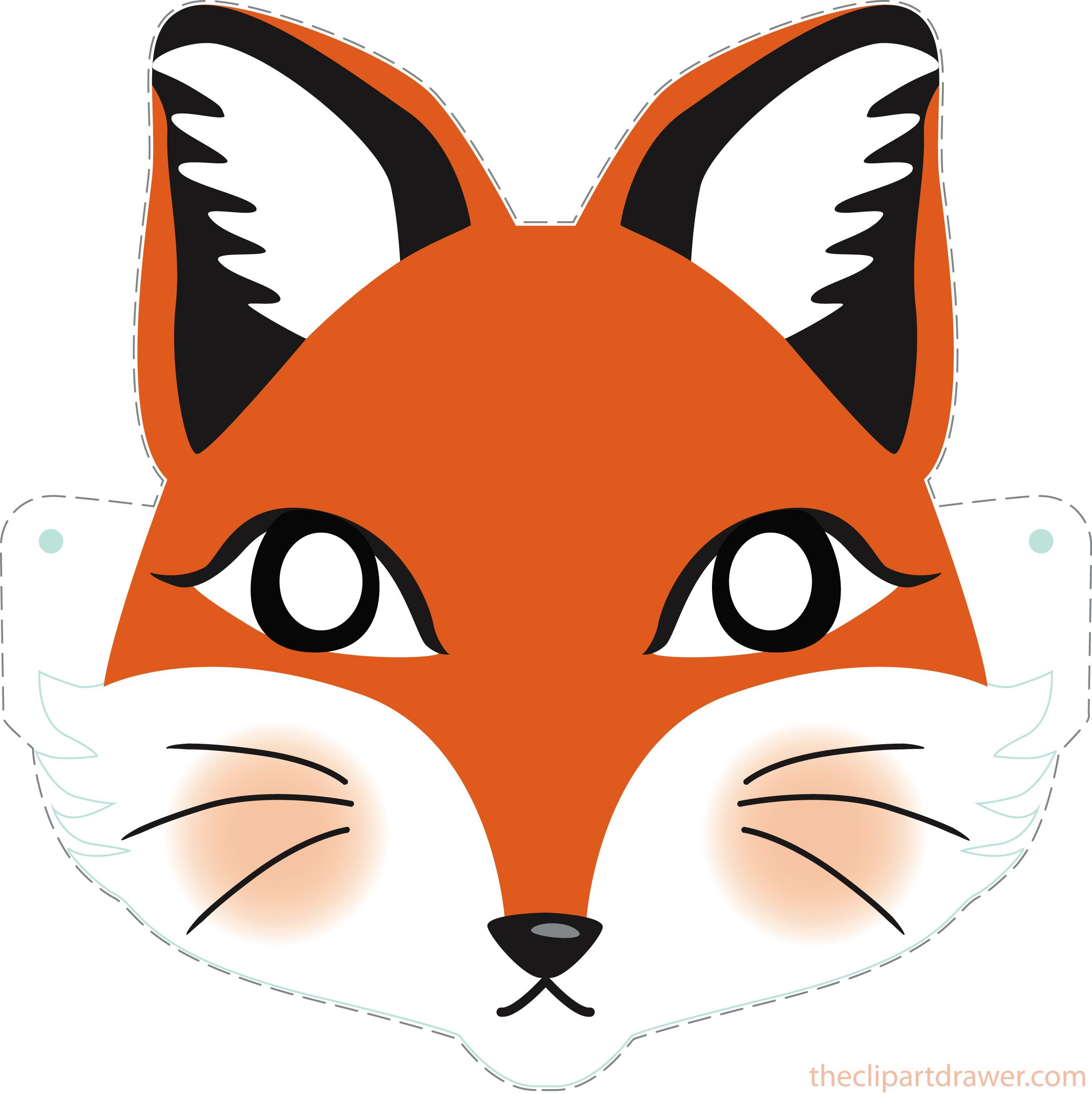 2454x2458 Diy Fox Printable Mask For Kids