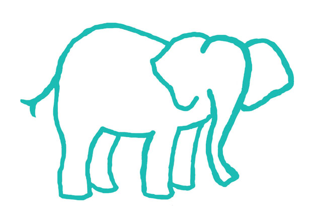 614x440 Gray Elephant Outline Clip Art