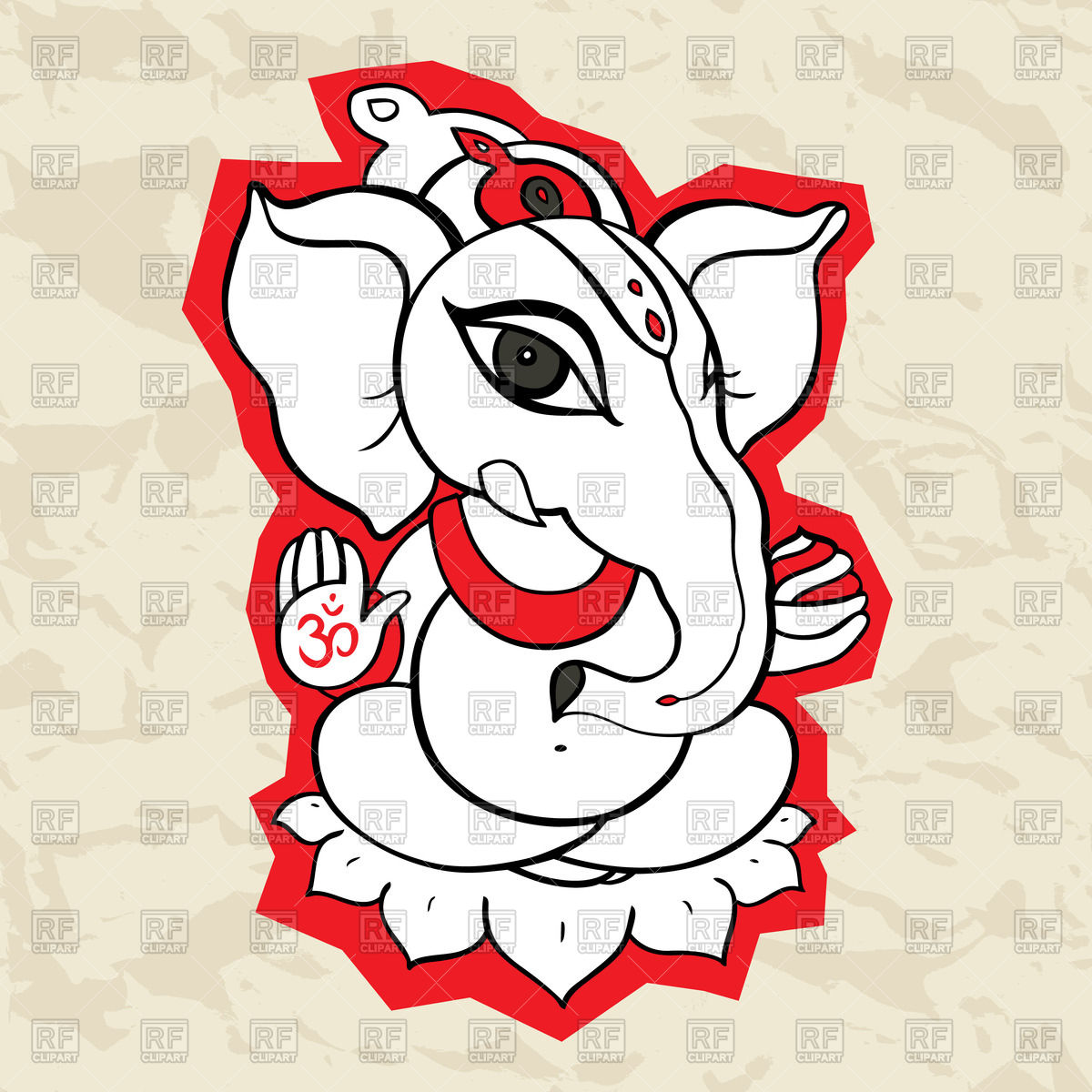1200x1200 Outline Of Ganesha With Red Contours Royalty Free Vector Clip Art