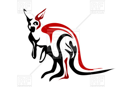 400x282 Outline Of Red Kangaroo Royalty Free Vector Clip Art Image