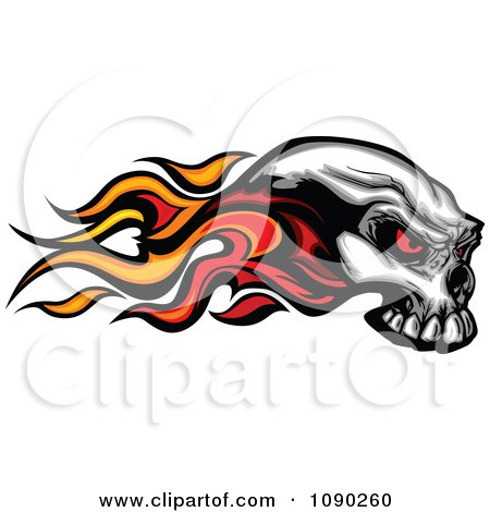 450x470 Clipart Of A Grayscale Winged Human Skull Over An Ornate Circle