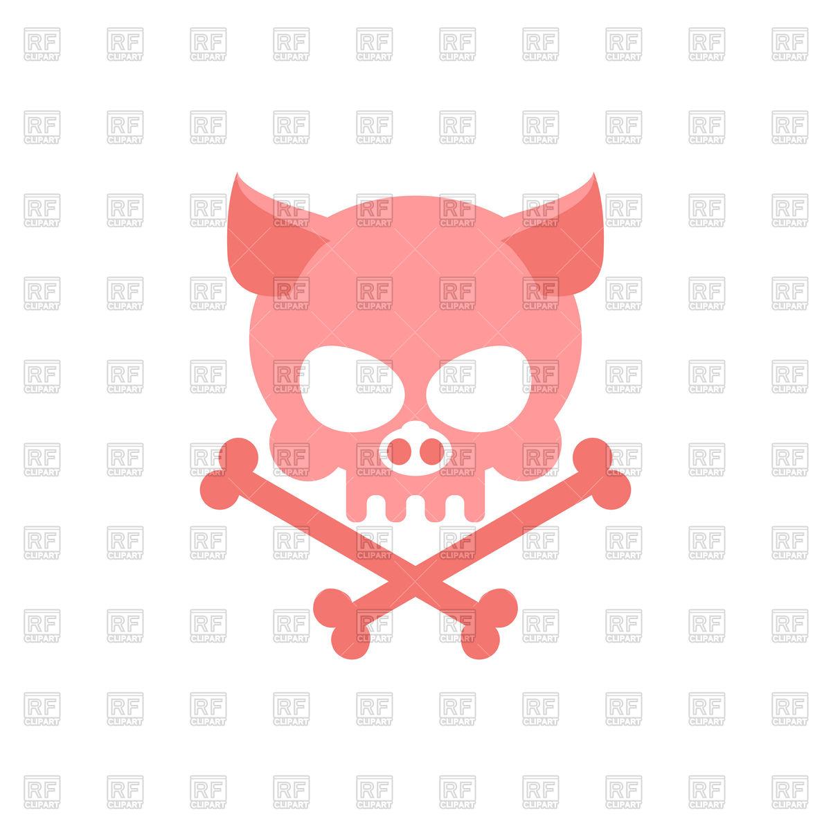 1200x1200 Pig Skull With Bones Royalty Free Vector Clip Art Image