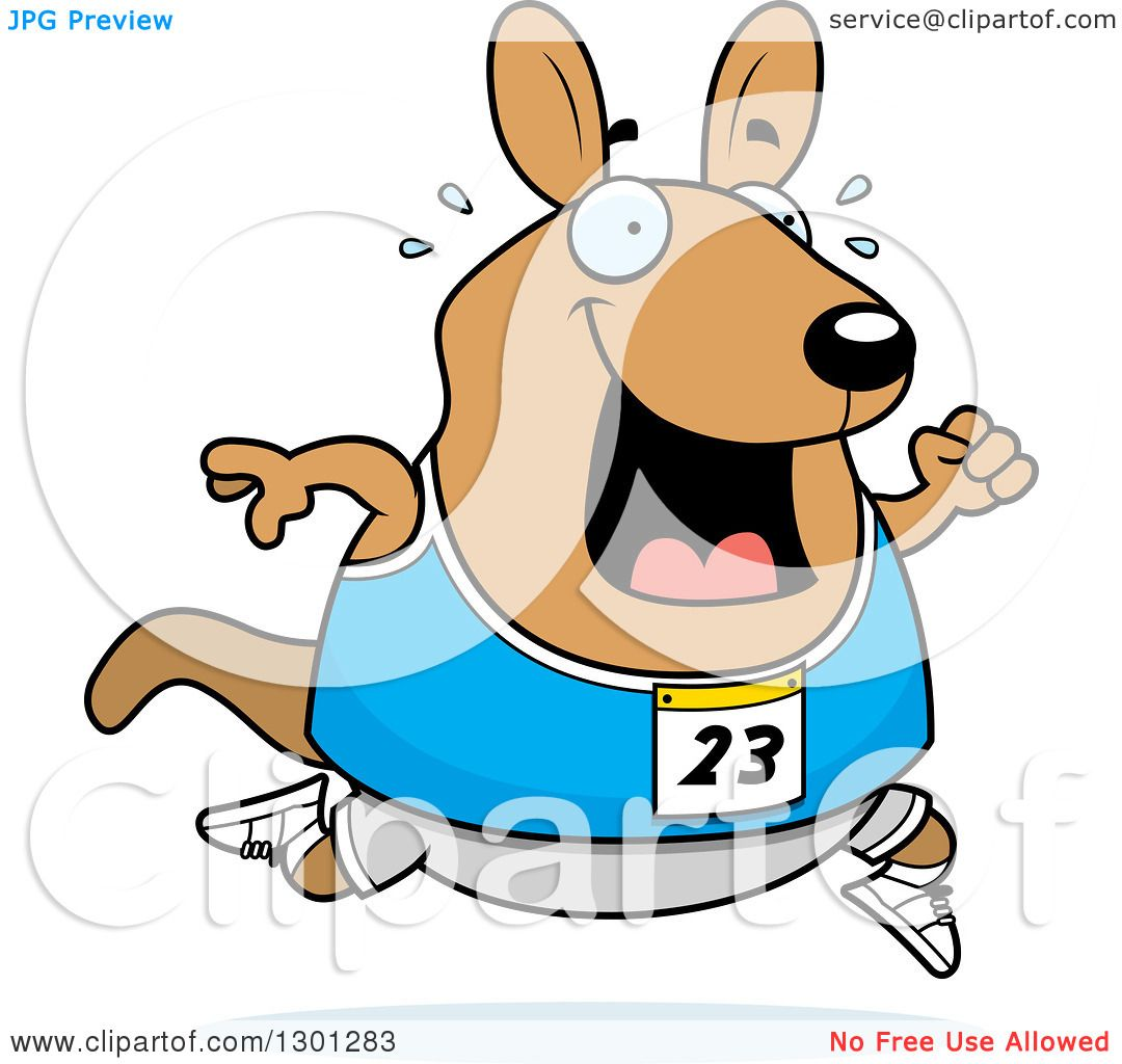 1080x1024 Clipart Of A Cartoon Sweaty Chubby Wallaby Running A Track