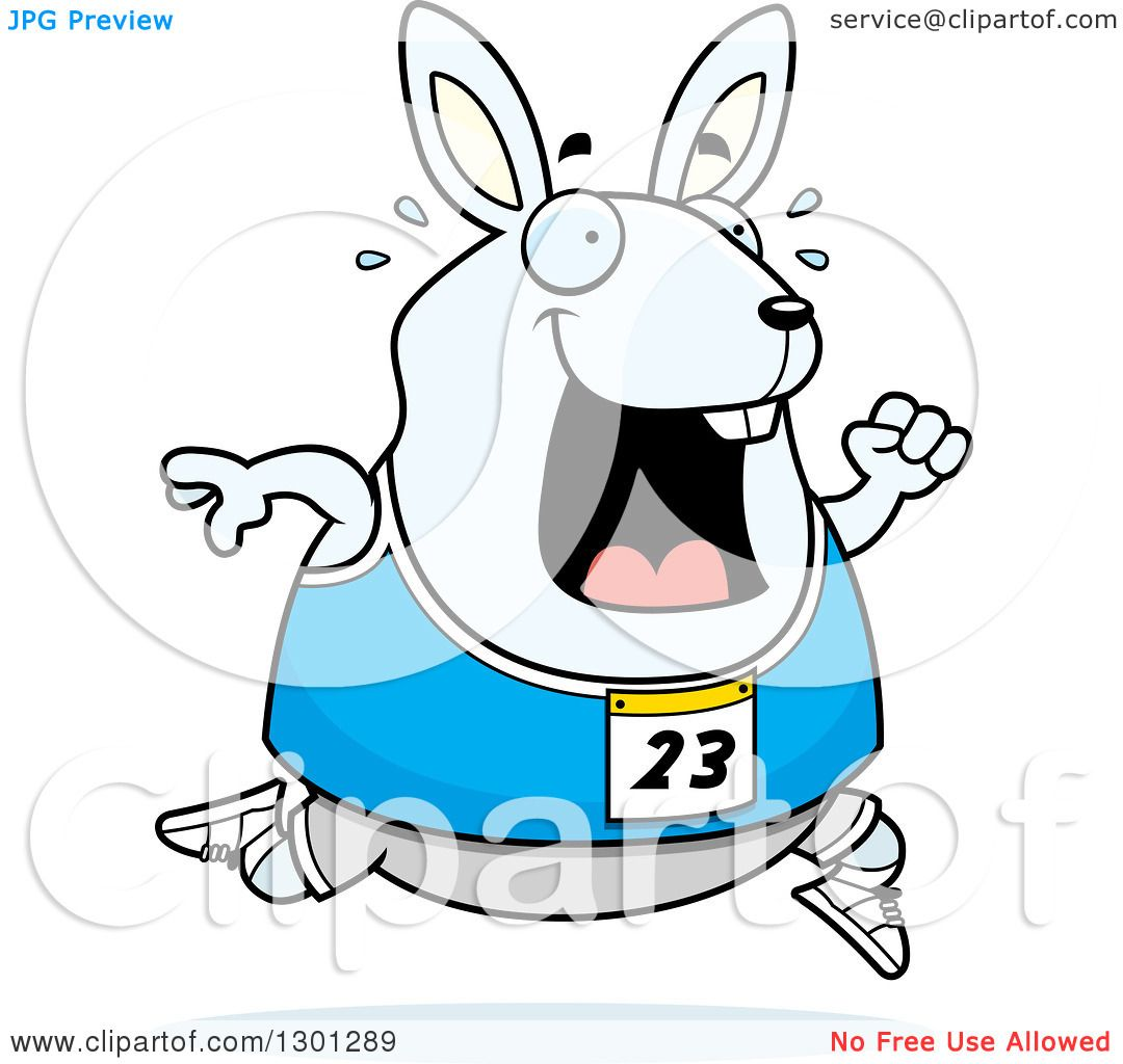 1080x1024 Clipart Of A Cartoon Sweaty Chubby White Rabbit Running A Track