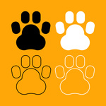150x150 Colorful Animal Footprint Frame Royalty Free Vector Clip Art Image