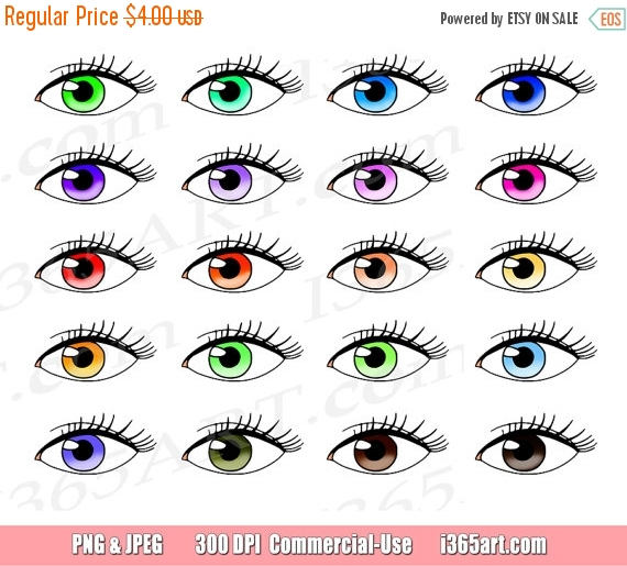 570x515 50% OFF Eye Clipart, Eye Clip Art, Colorful Eyes, Eyelashes, Girly