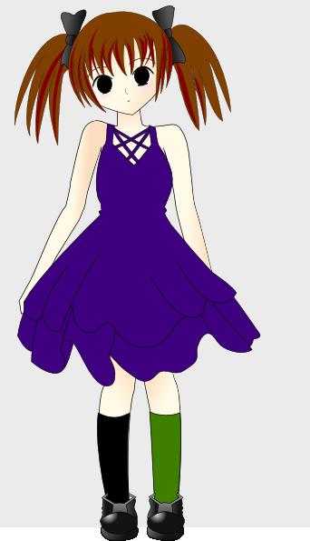 342x595 Emo Girl In Blue Dress Clip Art