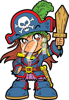 244x350 Royalty Free Clipart Image Of An Anime Pirate Girl With A Sword