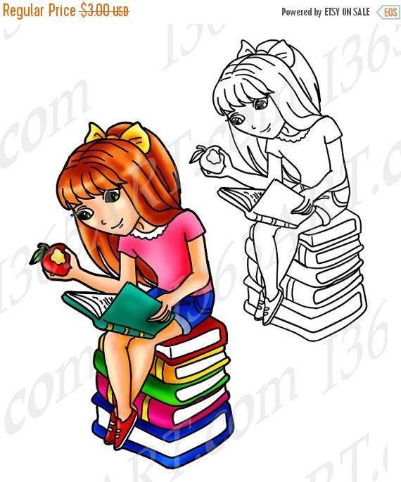 570x685 50% Off Girl Reading Clipart, Girl Reading Clip Art, Digital Stamp