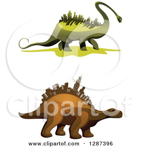 450x470 Clipart Of Green And Brown Dinosaurs With City Skyscrapers
