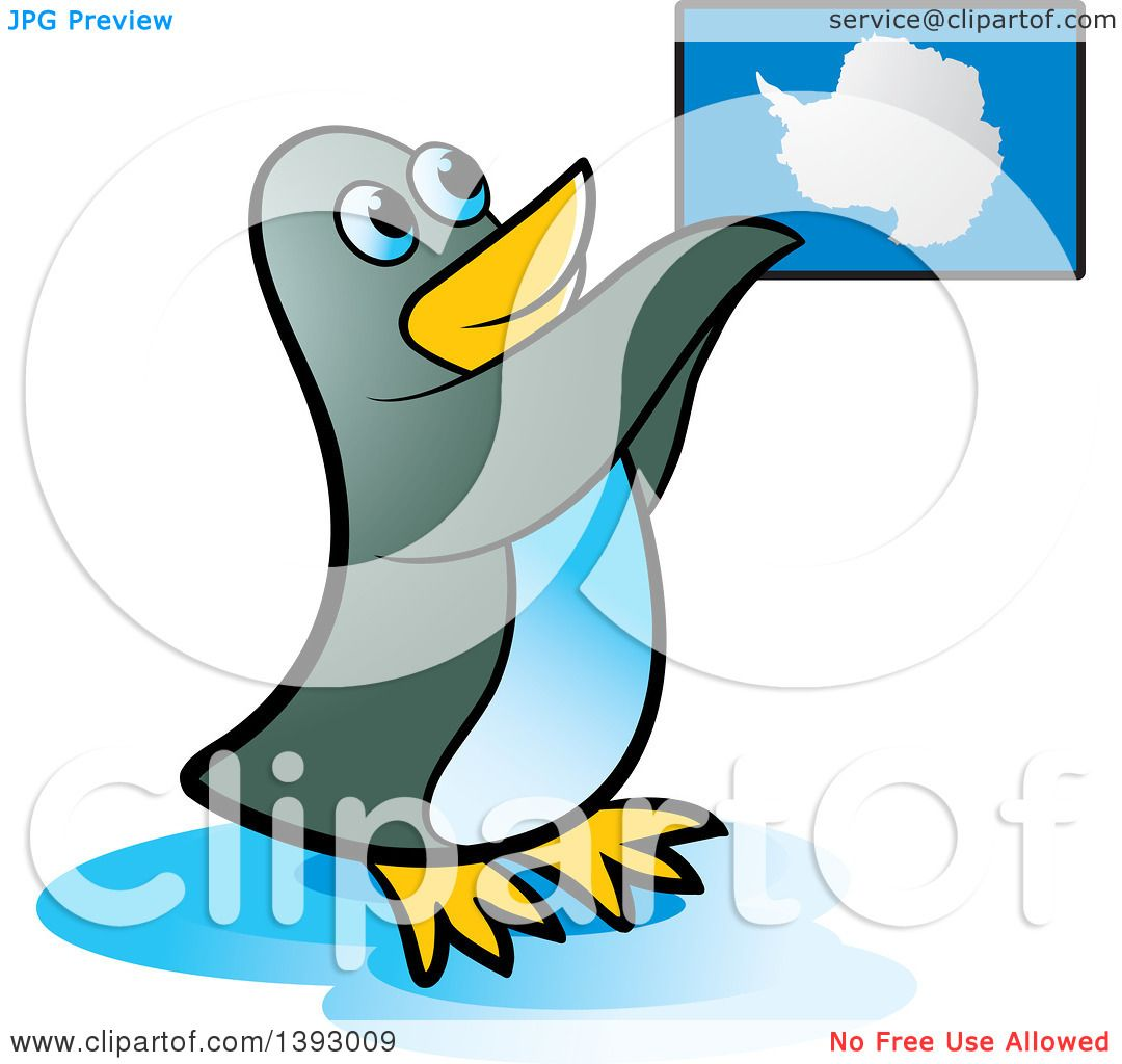 1080x1024 Clipart Of A Penguin Holding Up An Antarctica Map