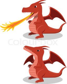 256x320 Cartoon Dragon Spitting Fire. Vector Clip Art Illustration
