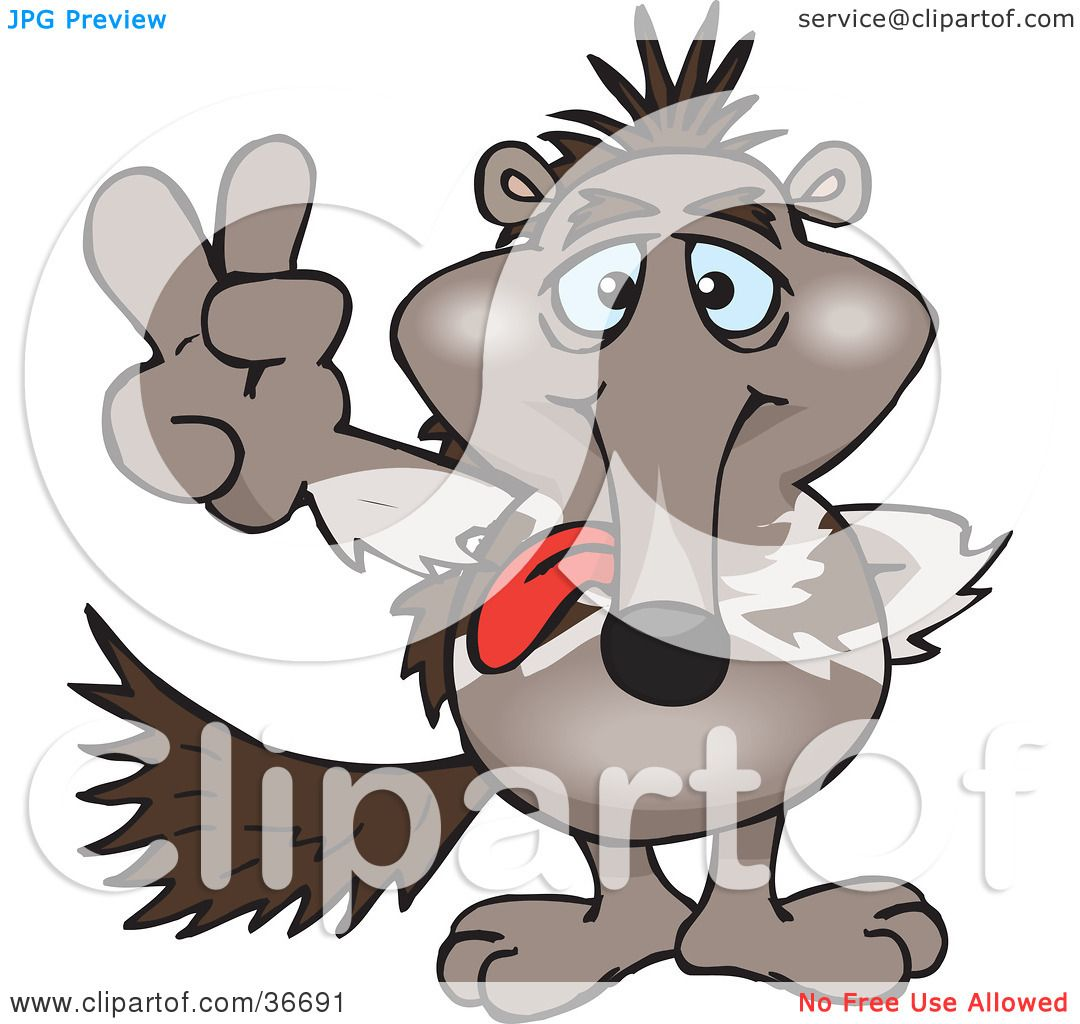 1080x1024 Clipart Illustration Of A Peaceful Anteater Smiling And Gesturing