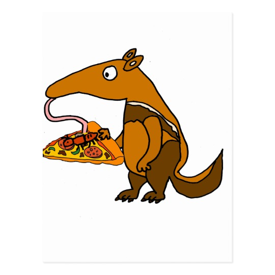 540x540 Funny Anteater Eating Pizza Cartoon Postcard