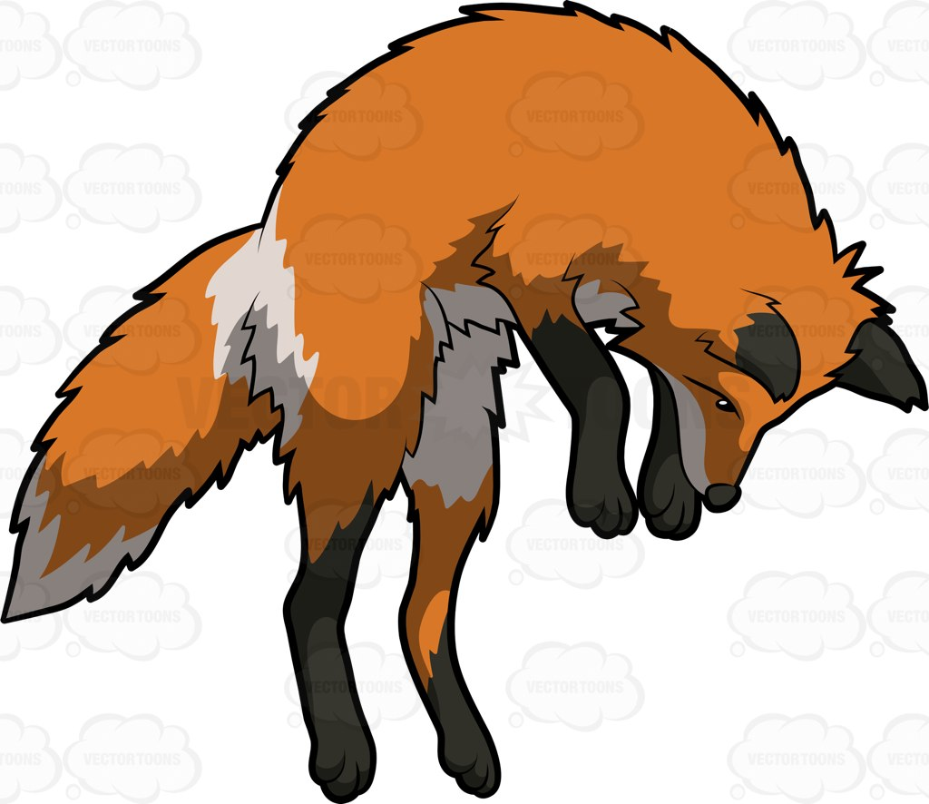 1024x886 A Multicolored Fox Arching Its Body To Jump High Cartoon Clipart