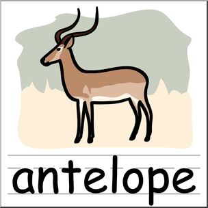 304x304 Clip Art Basic Words Antelope Color Labeled I