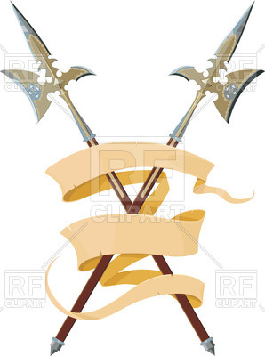 298x400 Two Crossed Halberds With Banner Royalty Free Vector Clip Art