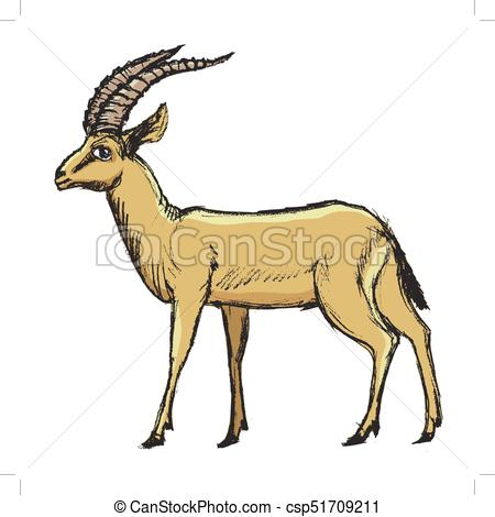 450x470 Antelope African Animal. Vector, Coloured, Sketch, Hand Vector