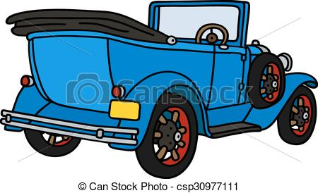 450x274 Vintage Blue Cabriolet. Hand Drawing Of A Vintage Blue Vector