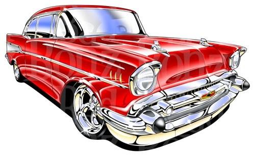 500x307 1957 Chevy Car Clip Art Automotive Magazine Special Wiring Diagram