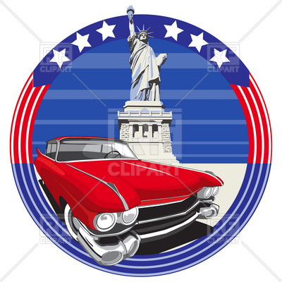 400x400 American Vintage Car And Statue Of Liberty Royalty Free Vector