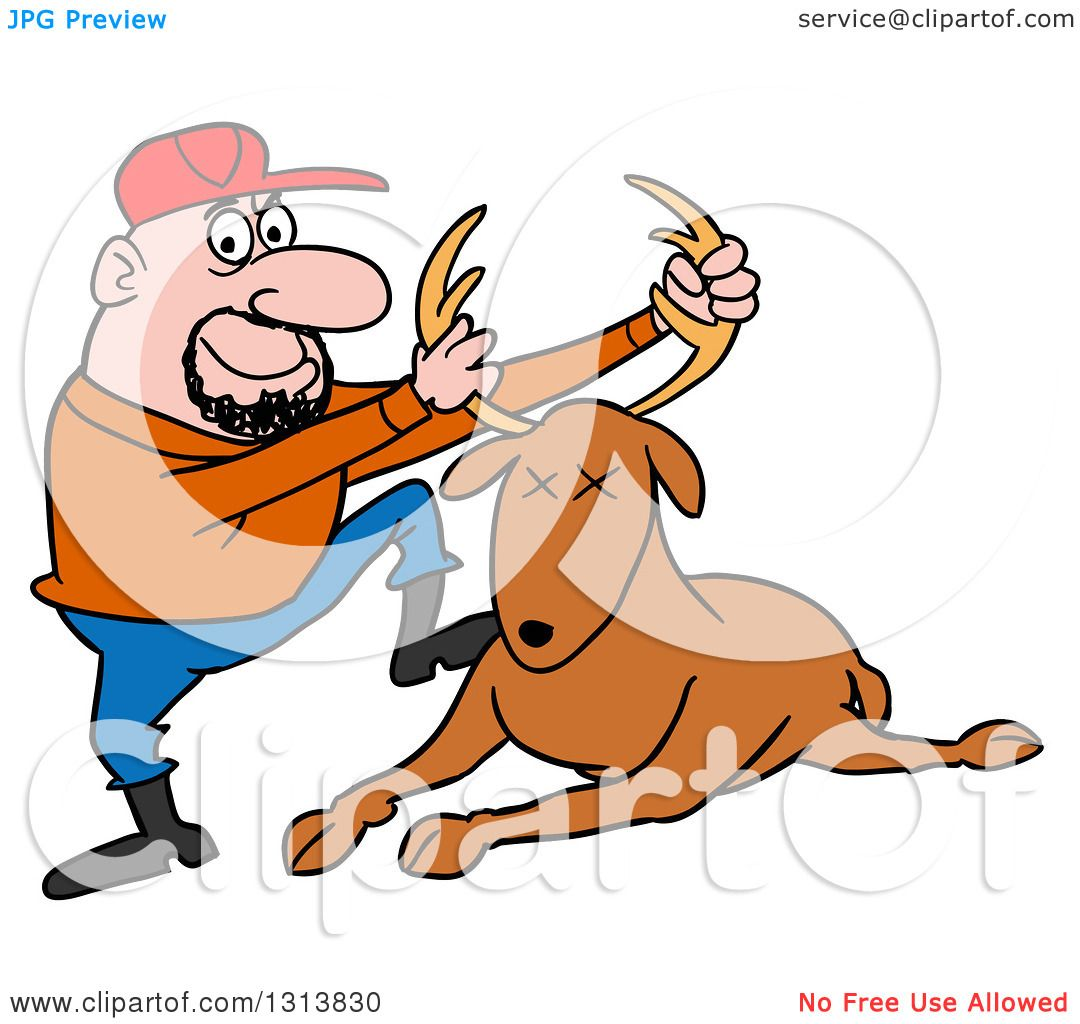 1080x1024 Clipart Of A Cartoon Caucasian Male Hunter Holding Up A Deer Stag
