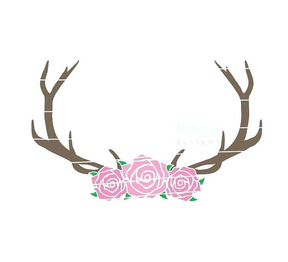 570x518 Deer Antlers With Flowers Svg Floral Antler Antler Flower Cut File