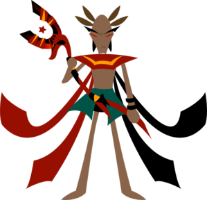299x288 Man With Anubis Staff Clip Art