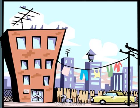 480x373 Apartment Building Royalty Free Vector Clip Art Illustration