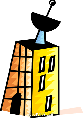 340x480 Apartment Building With Satellite Dish Royalty Free Vector Clip