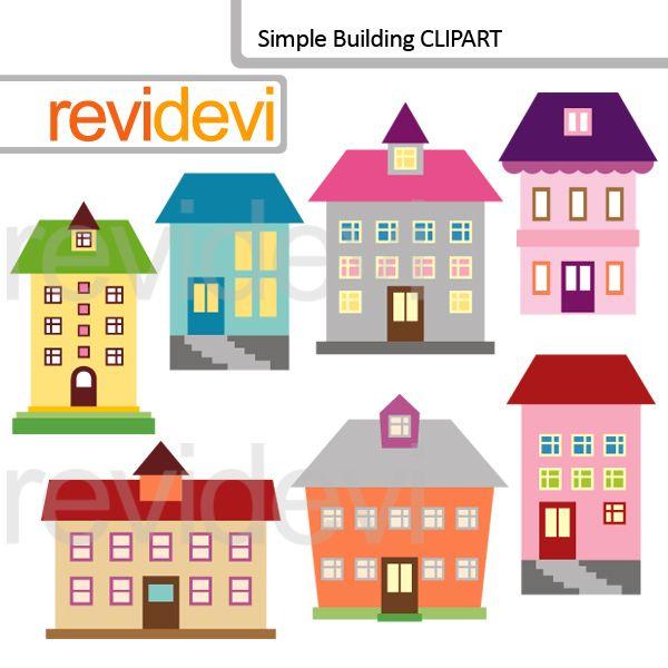 600x600 Building Clipart Set Featuring 7 Graphics. School, Apartment,