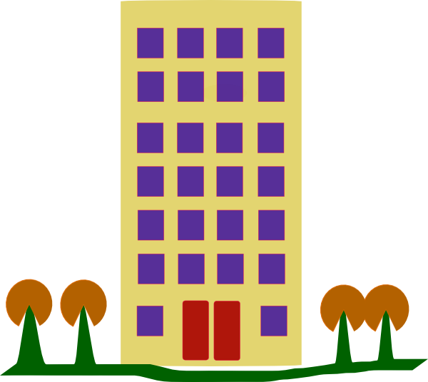600x536 Building With Trees Clip Art