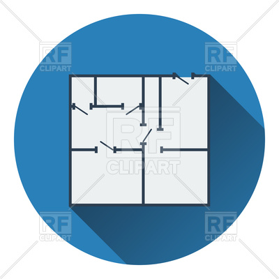 400x400 Icon Of Apartment Plan. Flat Design. Royalty Free Vector Clip Art