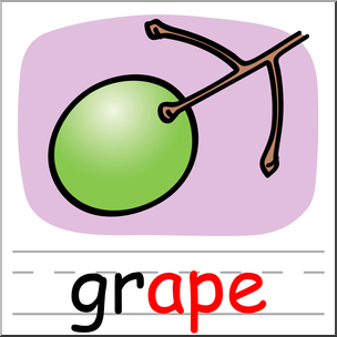 304x304 Clip Art Basic Words Ape Phonics Grape Color I
