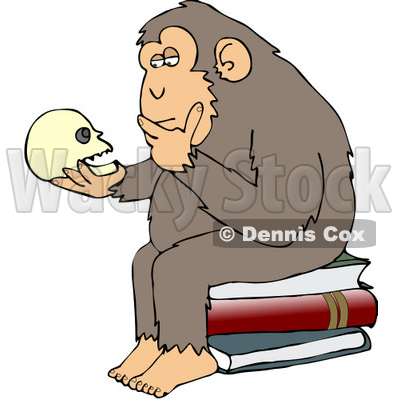 400x400 Clipart Illustration Of Wise Monkey Holdingnd Gazingt