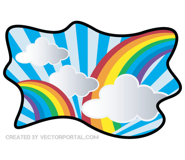 600x520 Vector Rainbow With Cloud Clip Art Download Free Vector Art